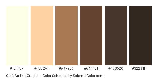 Café Au Lait Gradient - Color scheme palette thumbnail - #feffe7 #fed2a1 #a97953 #644431 #47362c #32281f