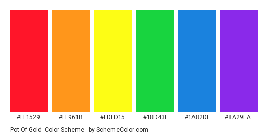 Pot of Gold - Color scheme palette thumbnail - #ff1529 #ff961b #fdfd15 #18d43f #1a82de #8a29ea
