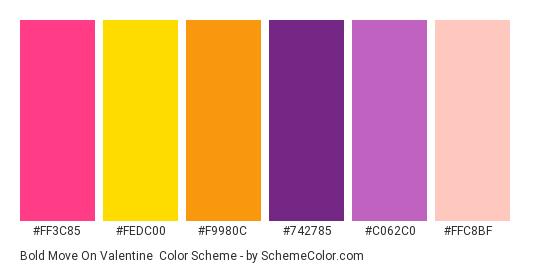 Bold Move on Valentine - Color scheme palette thumbnail - #ff3c85 #fedc00 #f9980c #742785 #c062c0 #ffc8bf