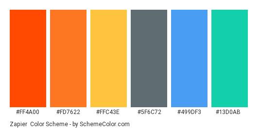 Zapier - Color scheme palette thumbnail - #ff4a00 #fd7622 #ffc43e #5f6c72 #499df3 #13d0ab