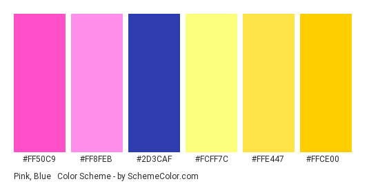 Pink Blue Yellow Color Scheme Palette Thumbnail Ff50c9 Ff8feb