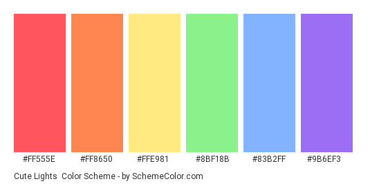 Cute Lights - Color scheme palette thumbnail - #ff555e #ff8650 #ffe981 #8bf18b #83b2ff #9b6ef3