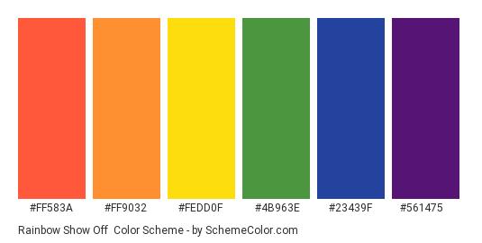 Rainbow Show Off - Color scheme palette thumbnail - #ff583a #ff9032 #fedd0f #4b963e #23439f #561475