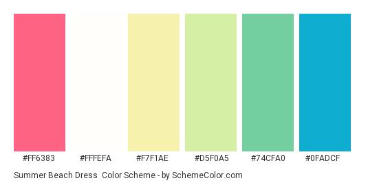 Summer Beach Dress - Color scheme palette thumbnail - #ff6383 #fffefa #f7f1ae #d5f0a5 #74cfa0 #0fadcf