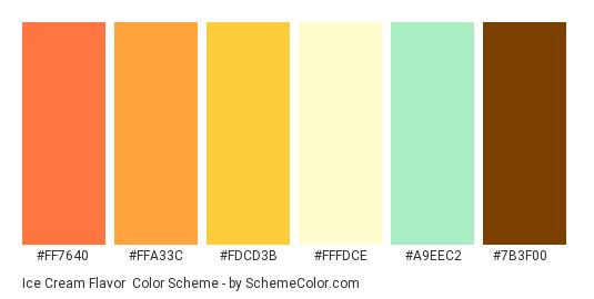Ice Cream Flavor - Color scheme palette thumbnail - #ff7640 #ffa33c #fdcd3b #fffdce #a9eec2 #7b3f00