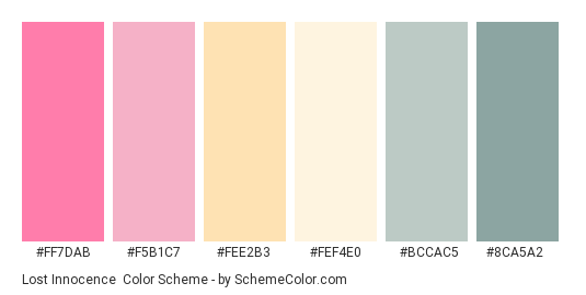 Lost Innocence - Color scheme palette thumbnail - #ff7dab #f5b1c7 #fee2b3 #fef4e0 #bccac5 #8ca5a2
