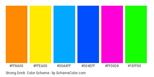 Strong Drink - Color scheme palette thumbnail - #ff8a00 #ffea00 #00a8ff #004eff #ff00d8 #15ff00