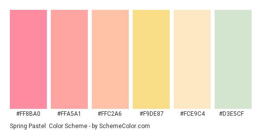 Spring Pastel - Color scheme palette thumbnail - #ff8ba0 #ffa5a1 #ffc2a6 #f9de87 #fce9c4 #d3e5cf
