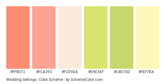 Wedding Settings - Color scheme palette thumbnail - #ff8d72 #fca393 #fce9da #d9e36f #c8d76d #fef7ba