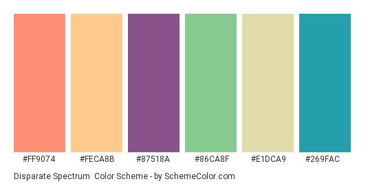 Disparate Spectrum - Color scheme palette thumbnail - #ff9074 #feca8b #87518a #86ca8f #e1dca9 #269fac