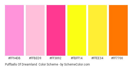 Puffballs of Dreamland - Color scheme palette thumbnail - #ff94db #FFBED9 #ff3892 #FBFF14 #FFEE34 #FF7700