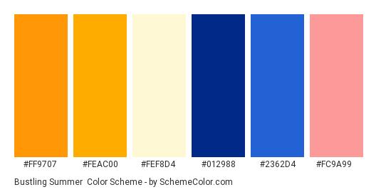 Bustling Summer - Color scheme palette thumbnail - #ff9707 #feac00 #fef8d4 #012988 #2362d4 #fc9a99