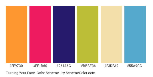 Turning Your Face - Color scheme palette thumbnail - #ff9730 #ee1b60 #261a6c #bbbe36 #f3dfa9 #55a9cc