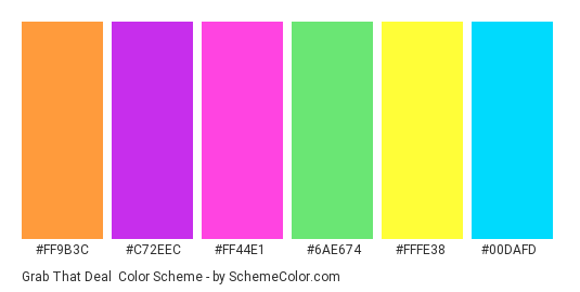 Grab That Deal - Color scheme palette thumbnail - #ff9b3c #c72eec #ff44e1 #6ae674 #fffe38 #00dafd