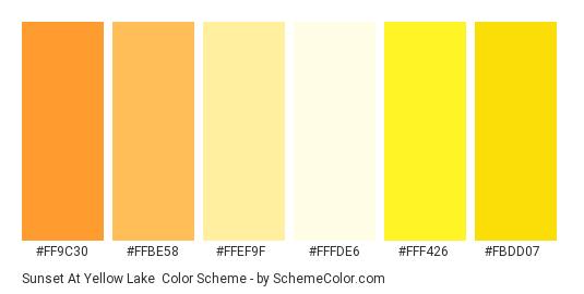 Sunset at Yellow Lake - Color scheme palette thumbnail - #ff9c30 #ffbe58 #ffef9f #fffde6 #fff426 #fbdd07