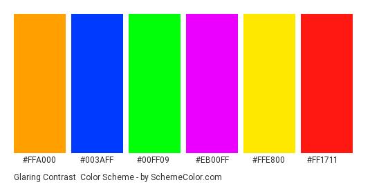 Glaring Contrast - Color scheme palette thumbnail - #ffa000 #003aff #00ff09 #eb00ff #ffe800 #ff1711