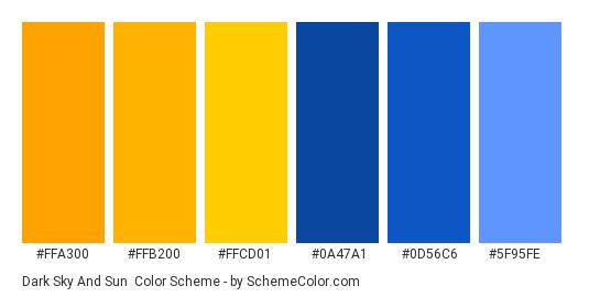 Dark Sky and Sun - Color scheme palette thumbnail - #ffa300 #ffb200 #ffcd01 #0a47a1 #0d56c6 #5f95fe