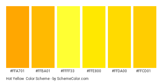Hot Yellow - Color scheme palette thumbnail - #ffa701 #ffba01 #ffff33 #ffe800 #ffda00 #ffcd01