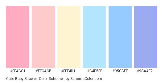 Cute Baby Shower - Color scheme palette thumbnail - #ffabc1 #ffcacb #fff4d1 #b4e5ff #95cbff #9caaf2