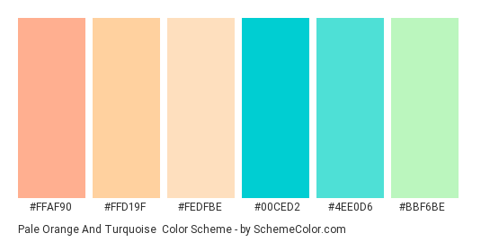 Pale Orange and Turquoise - Color scheme palette thumbnail - #ffaf90 #ffd19f #fedfbe #00ced2 #4ee0d6 #bbf6be
