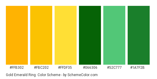 Gold Emerald Ring - Color scheme palette thumbnail - #ffb302 #fbc202 #ffdf35 #066306 #52c777 #1a7f2b