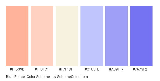 Blue Peace - Color scheme palette thumbnail - #ffb39b #ffd1c1 #f7f1df #c1c5fe #a09ff7 #7673f2