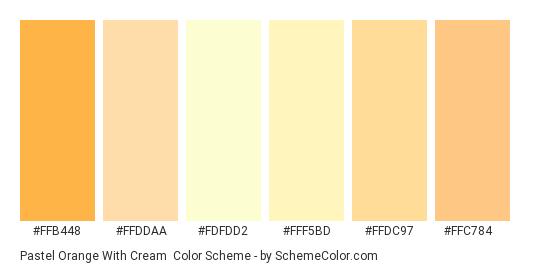Pastel Orange with Cream - Color scheme palette thumbnail - #ffb448 #ffddaa #fdfdd2 #fff5bd #ffdc97 #ffc784