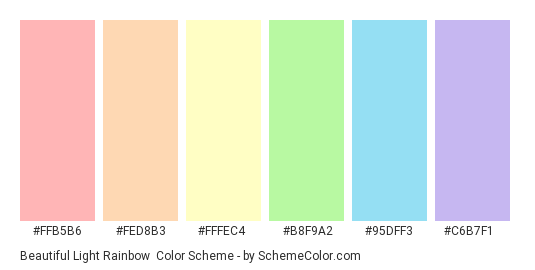 Beautiful Light Rainbow - Color scheme palette thumbnail - #ffb5b6 #fed8b3 #fffec4 #b8f9a2 #95dff3 #c6b7f1