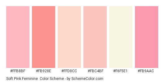 Soft Pink Feminine Color Scheme Palette Thumbnail Ffb8bf Fb928e Ffd8cc