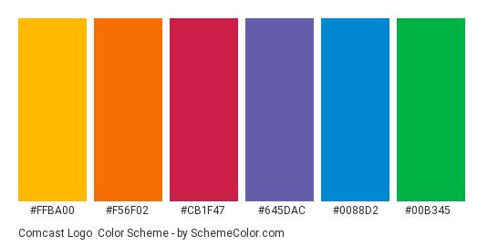 Comcast Logo - Color scheme palette thumbnail - #ffba00 #f56f02 #cb1f47 #645dac #0088d2 #00b345