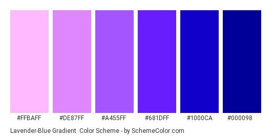 Lavender-Blue Gradient - Color scheme palette thumbnail - #ffbaff #de87ff #a455ff #681dff #1000ca #000098