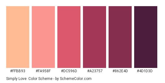 Simply Love - Color scheme palette thumbnail - #ffbb93 #fa958f #dc596d #a23757 #862e4d #4d1d3d