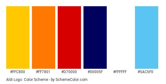 Aldi Logo - Color scheme palette thumbnail - #ffc800 #ff7801 #d70000 #00005f #ffffff #5ac5f0