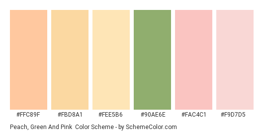 Peach, Green and Pink - Color scheme palette thumbnail - #ffc89f #fbd8a1 #fee5b6 #90ae6e #fac4c1 #f9d7d5