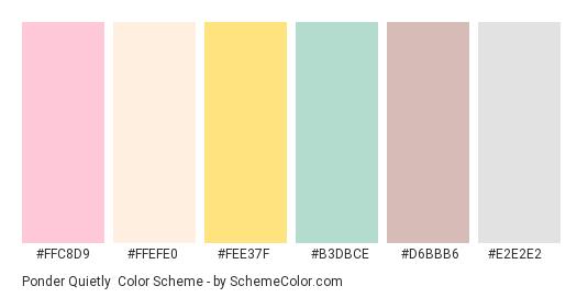 Ponder Quietly - Color scheme palette thumbnail - #ffc8d9 #ffefe0 #fee37f #b3dbce #d6bbb6 #e2e2e2