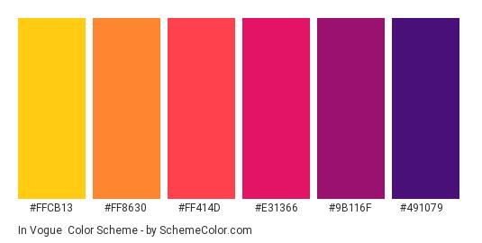 In Vogue - Color scheme palette thumbnail - #ffcb13 #ff8630 #ff414d #e31366 #9b116f #491079