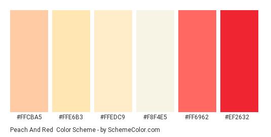 Peach and Red - Color scheme palette thumbnail - #ffcba5 #ffe6b3 #ffedc9 #f8f4e5 #ff6962 #ef2632
