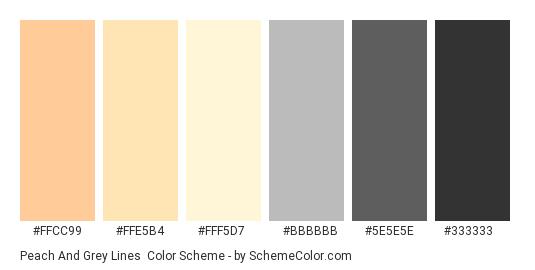Peach and Grey Lines - Color scheme palette thumbnail - #ffcc99 #ffe5b4 #fff5d7 #bbbbbb #5e5e5e #333333