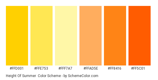 Height of Summer - Color scheme palette thumbnail - #ffd001 #ffe753 #fff7a7 #ffad5e #ff8416 #ff5c01