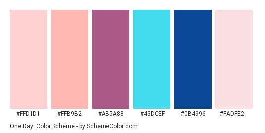 One Day - Color scheme palette thumbnail - #ffd1d1 #ffb9b2 #ab5a88 #43dcef #0b4996 #fadfe2