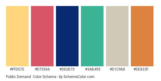 Public Demand - Color scheme palette thumbnail - #ffd57e #d75566 #082b70 #3ab495 #d1c9b8 #de823f
