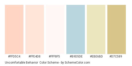 Uncomfortable Behavior - Color scheme palette thumbnail - #ffd5c4 #ffe4d8 #fff8f5 #b9d5de #ebe6bd #d7c589