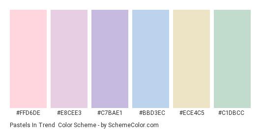 Pastels in Trend - Color scheme palette thumbnail - #ffd6de #e8cee3 #c7bae1 #bbd3ec #ece4c5 #c1dbcc