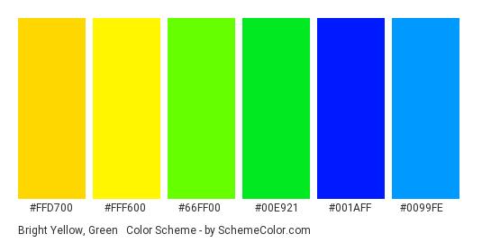 Bright Yellow, Green & Blue - Color scheme palette thumbnail - #ffd700 #fff600 #66ff00 #00e921 #001aff #0099fe