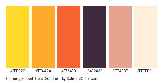 Calming Sunset - Color scheme palette thumbnail - #ffd82c #ffaa2a #f76430 #40283d #e7a38e #ffeed9
