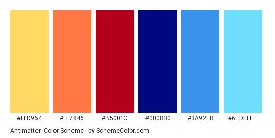 Antimatter - Color scheme palette thumbnail - #ffd964 #ff7846 #b5001c #000880 #3a92eb #6edeff