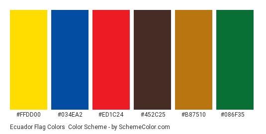Ecuador Flag Colors - Color scheme palette thumbnail - #ffdd00 #034ea2 #ed1c24 #452c25 #b87510 #086f35
