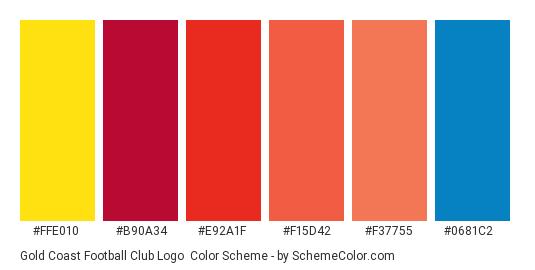 Gold Coast Football Club Logo - Color scheme palette thumbnail - #ffe010 #b90a34 #e92a1f #f15d42 #f37755 #0681c2
