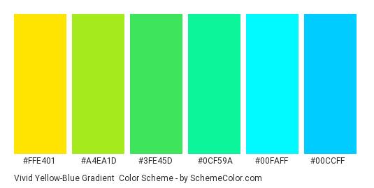 Vivid Yellow-Blue Gradient - Color scheme palette thumbnail - #ffe401 #a4ea1d #3fe45d #0cf59a #00faff #00ccff