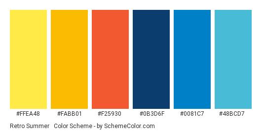 Retro Summer #2 - Color scheme palette thumbnail - #ffea48 #fabb01 #f25930 #0b3d6f #0081c7 #48bcd7